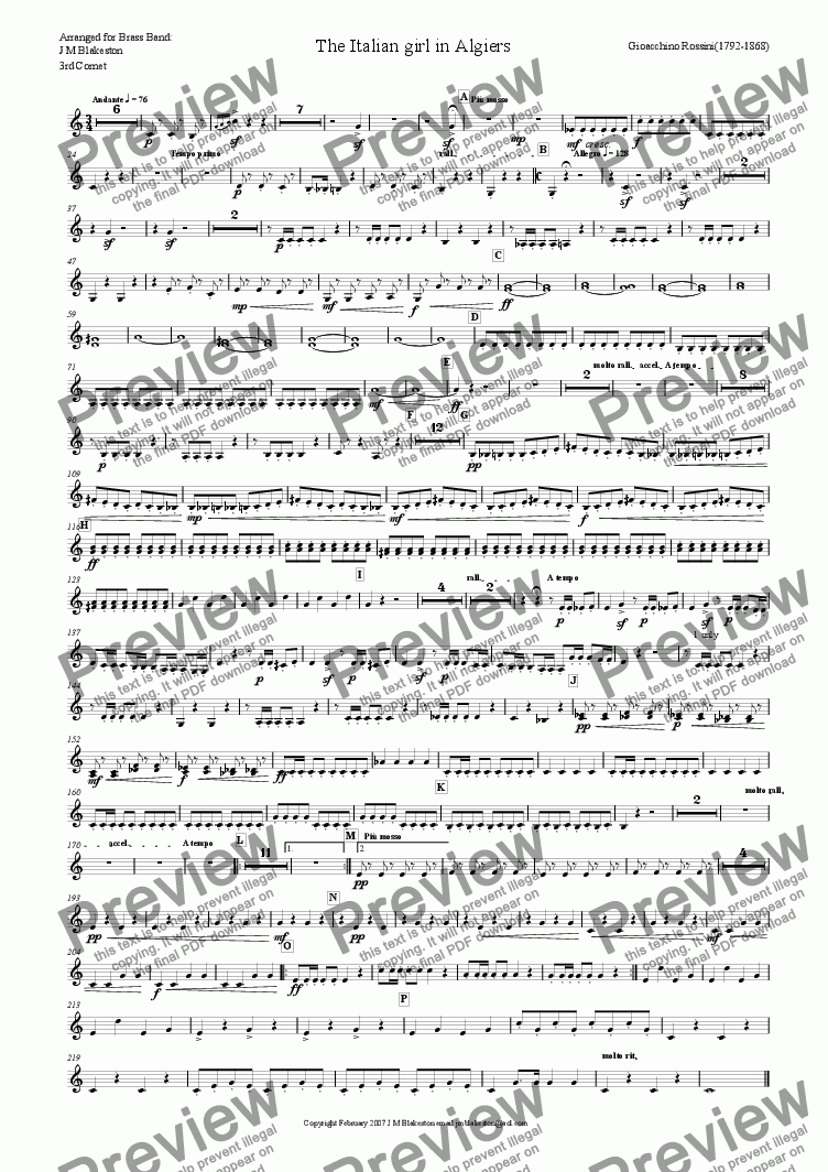 page one of the 3rd cornet part from Overture: The Italian girl in Algiers (Brass Band)