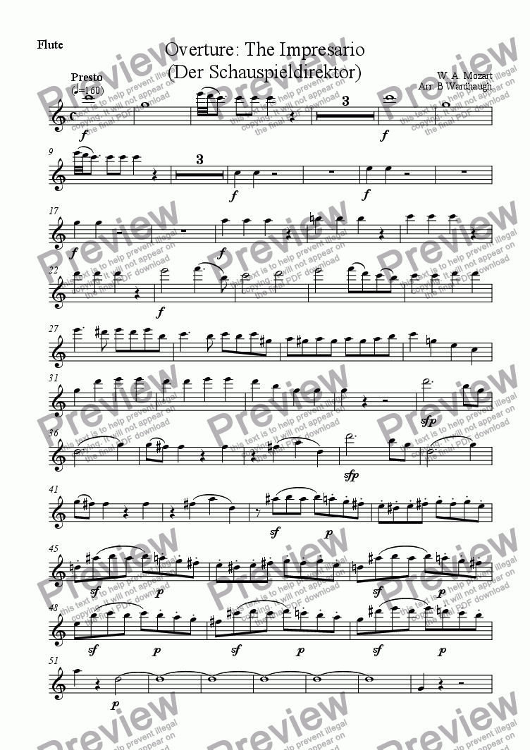 page one of the Flute part from Overture: The Impresario