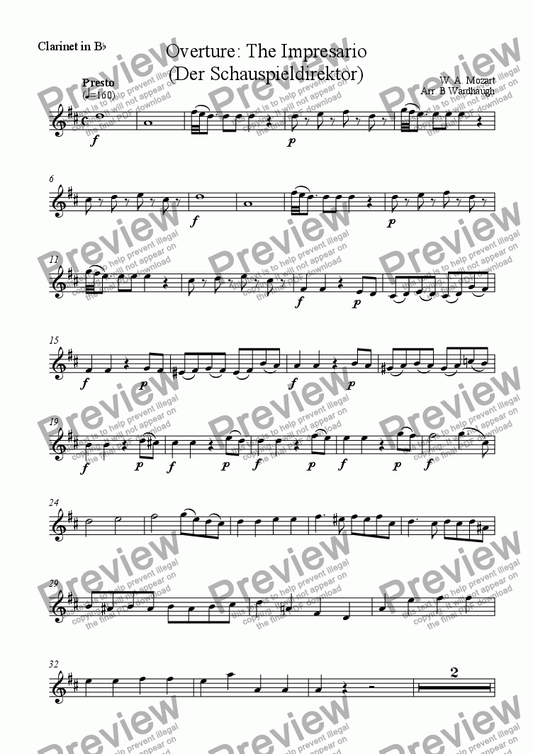 page one of the Clarinet in B flat part from Overture: The Impresario