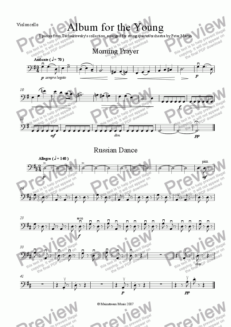 page one of the Cello part from Album for the Young