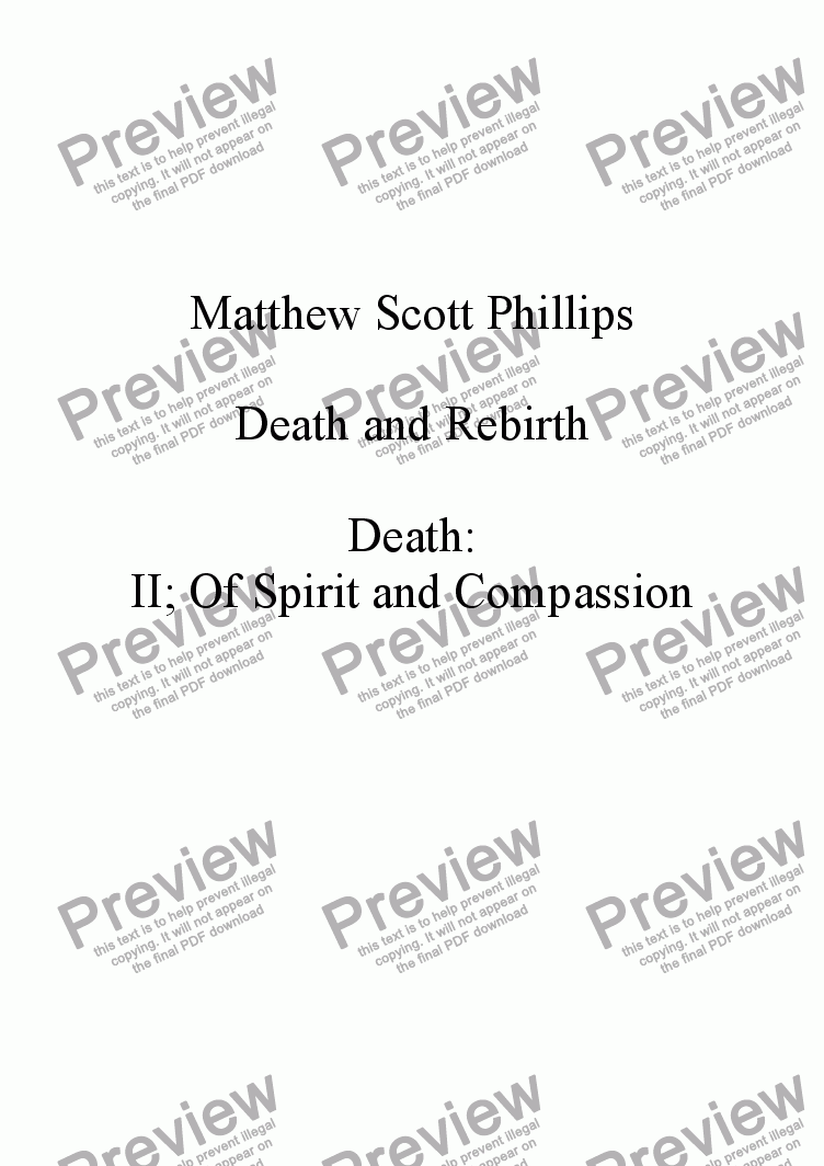 page one of the Horn I in F part from 002: Death; Of Spirit and Compassion