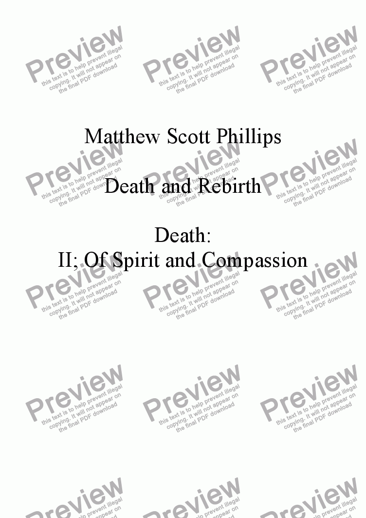 page one of the Violin II part from 002: Death; Of Spirit and Compassion