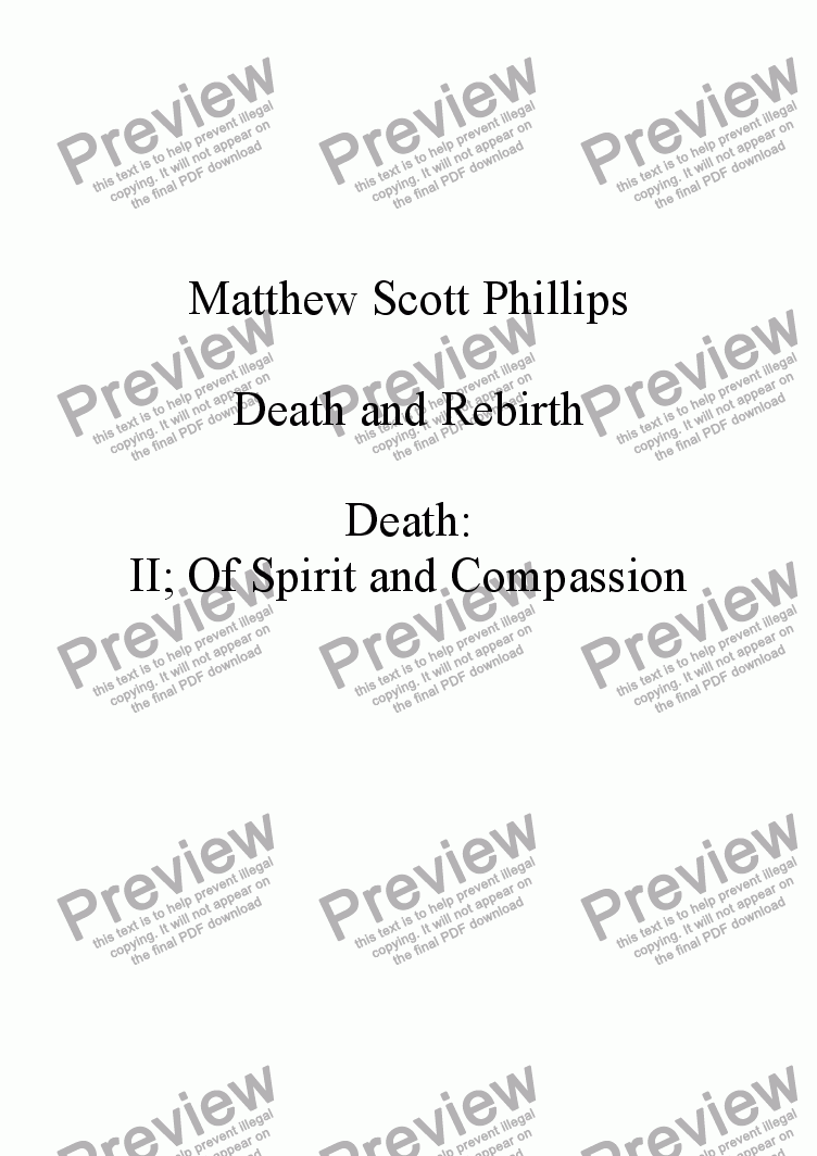 page one of the Violoncello part from 002: Death; Of Spirit and Compassion
