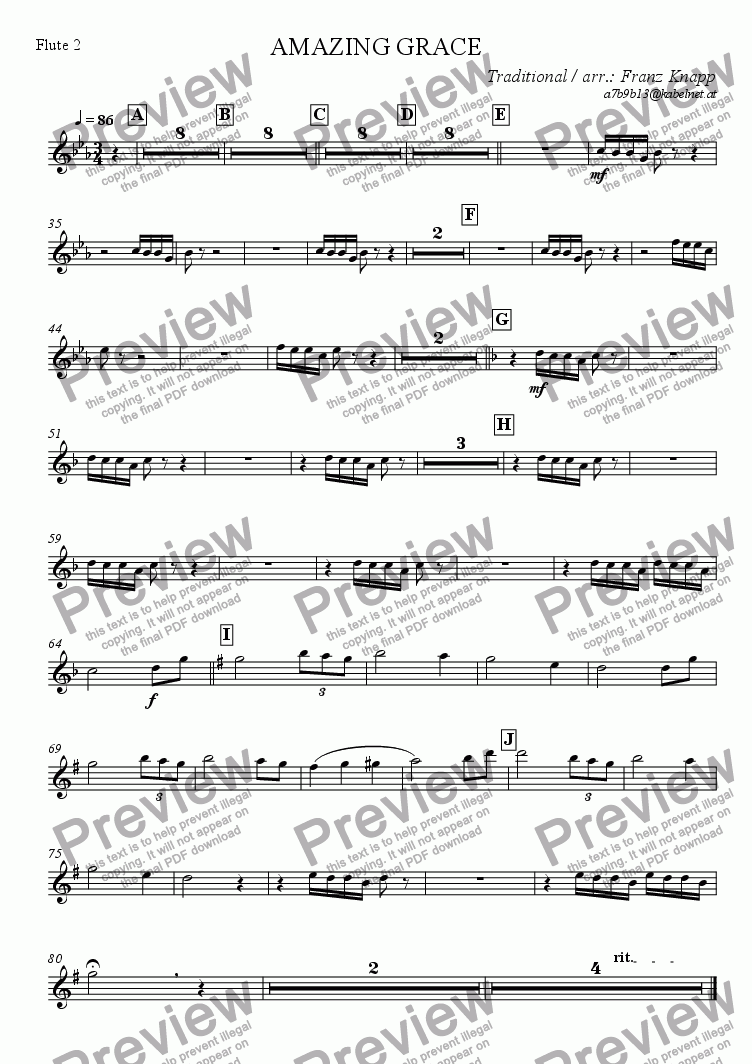 page one of the Flute 2 part from Amazing Grace