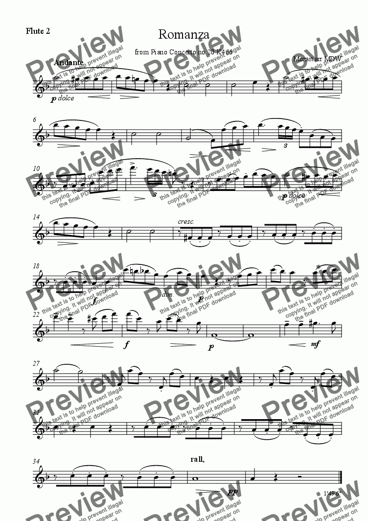 page one of the Flute 2 part from Mozart Romanza for flute quartet