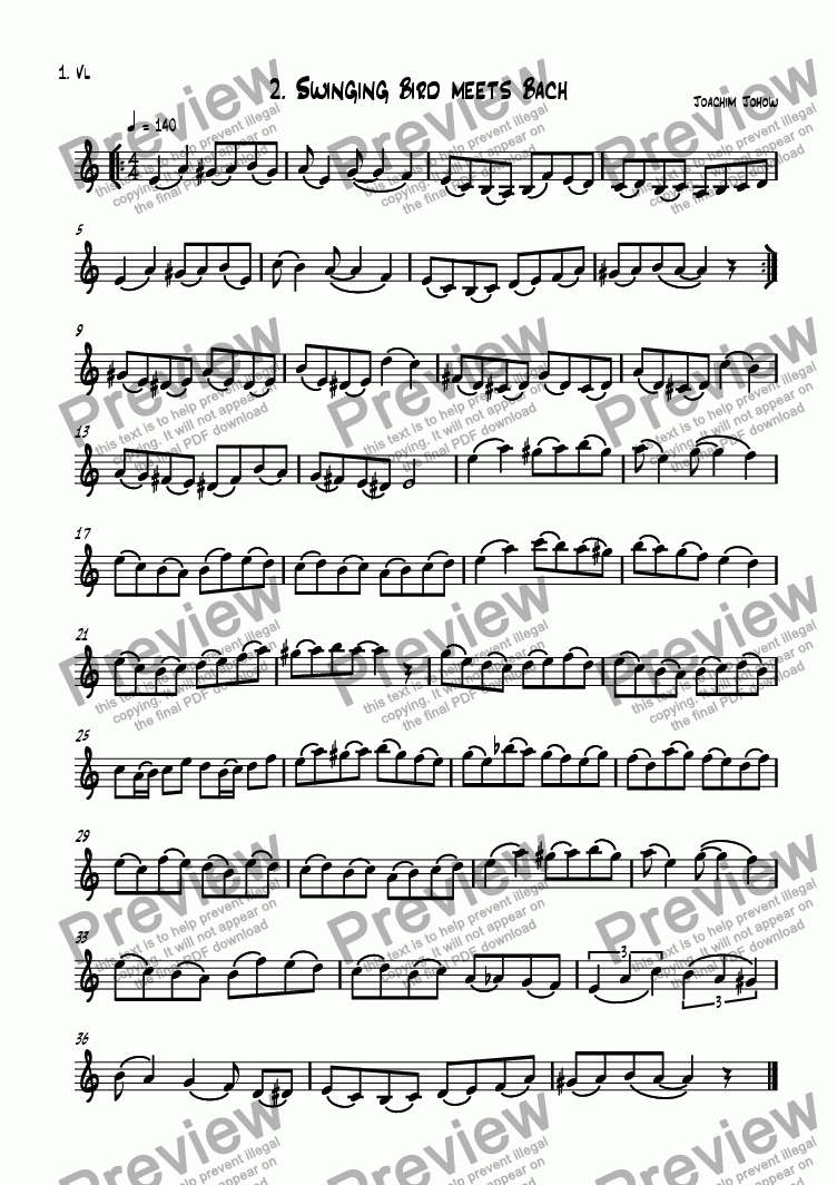 page one of the 1. Vl part from Violin Book 02 (Swinging Bird meets Bach)