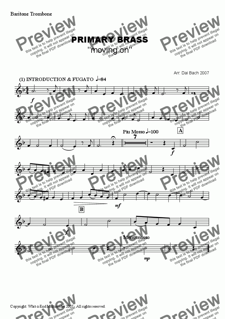 page one of the Baritone/Trombone part from PRIMARY BRASS