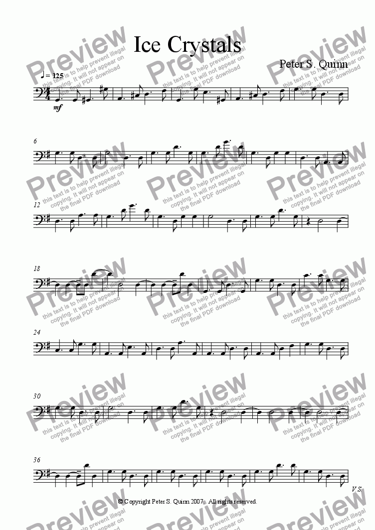 page one of the Bass part from Ice Crystals