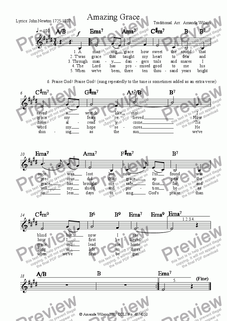 page one of the lead sheet part from Amazing Grace