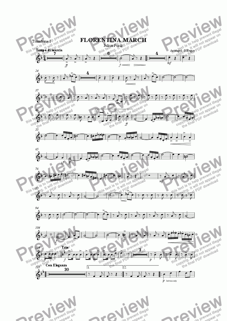page one of the Trombone 1 part from Florentina March (10 Piece)