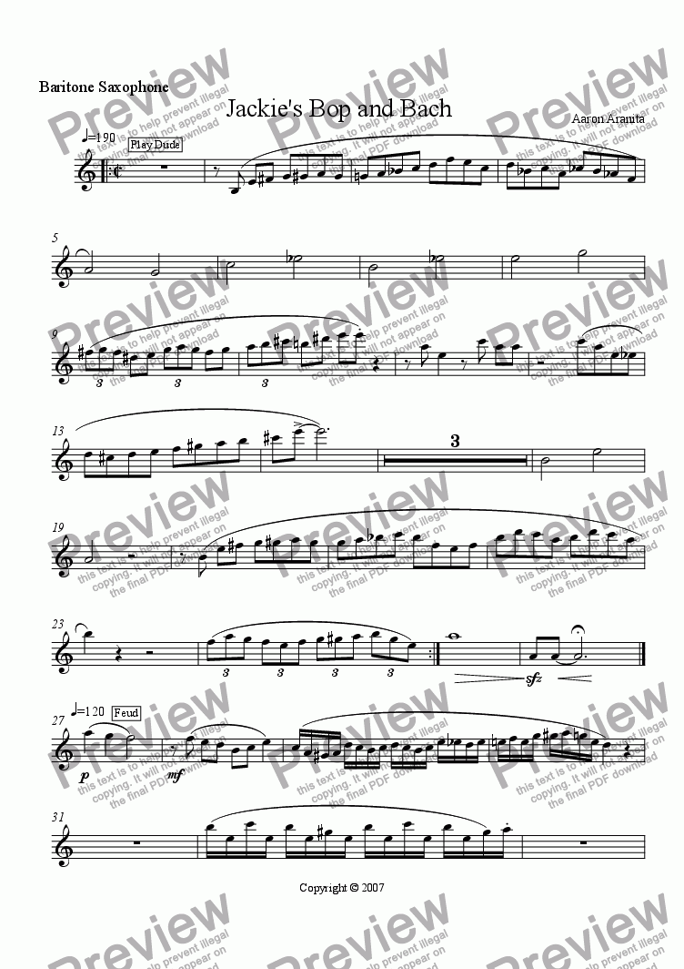 page one of the Baritone Saxophone part from Jackie's Bop and Bach