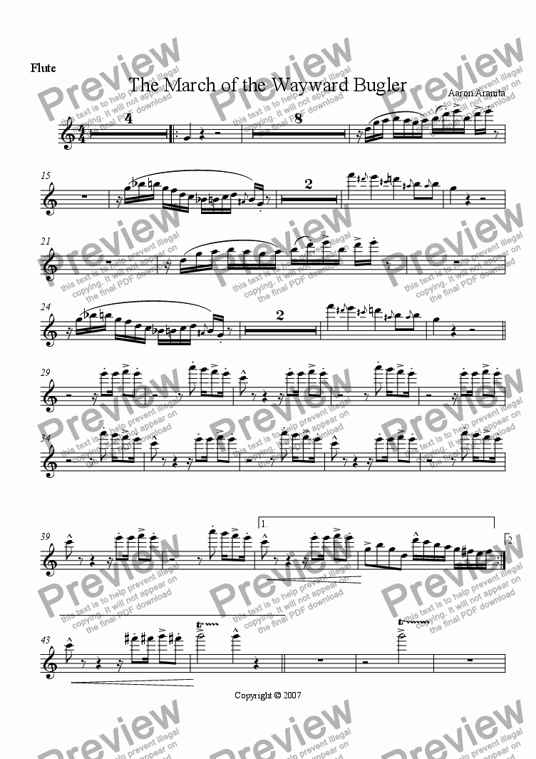 page one of the Flute 1 part from The March of the Wayward Bugler