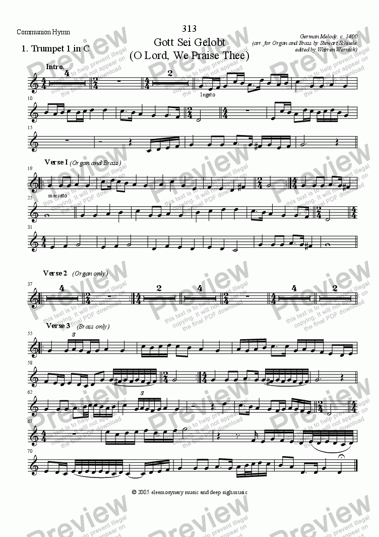 page one of the Trumpet 1 in C part from Gott Sei Gelobt (O Lord, We Praise Thee) Communion Hymn for Organ, Brass & Timpani