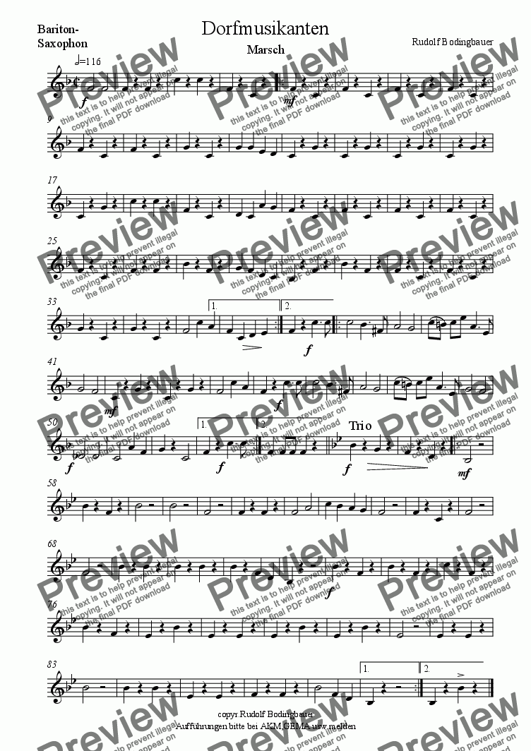 page one of the Baryton-Saxophon part from Dorfmusikanten Marsch Sax u. Begl.