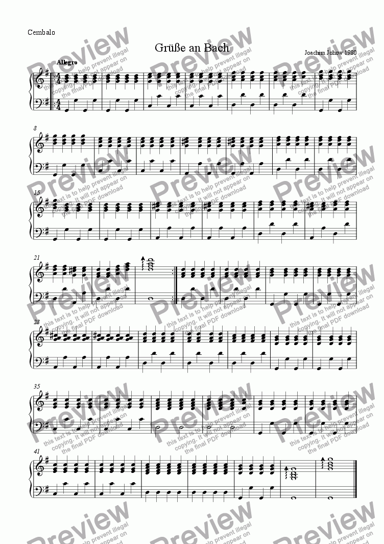 page one of the Harpsichord Piano part from Greetings to Bach (School String Ensemble)