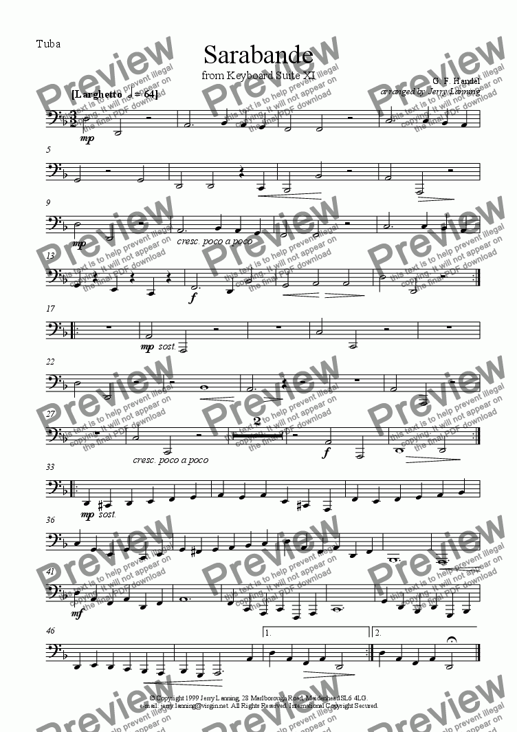 page one of the Tuba part from Sarabande from Keyboard Suite XI (brass quintet)