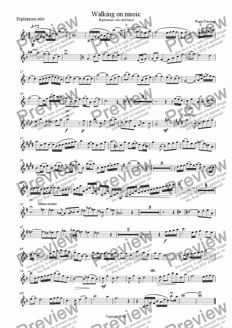 page one of the euphonium solo part from walking on music