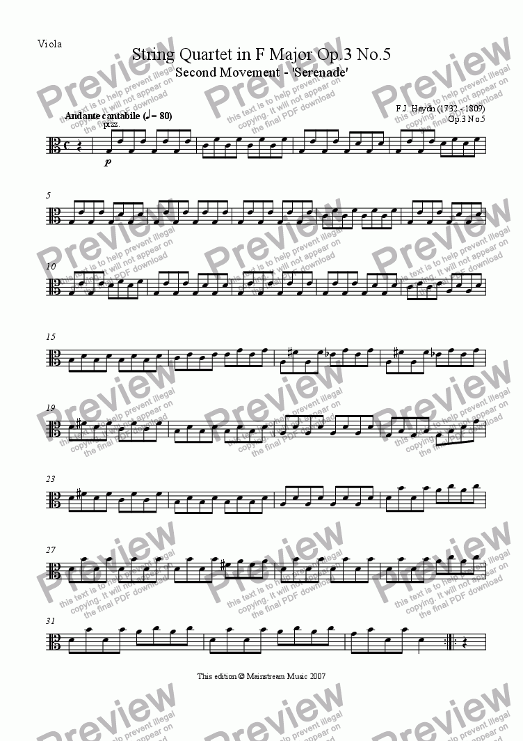 page one of the Viola part from Serenade