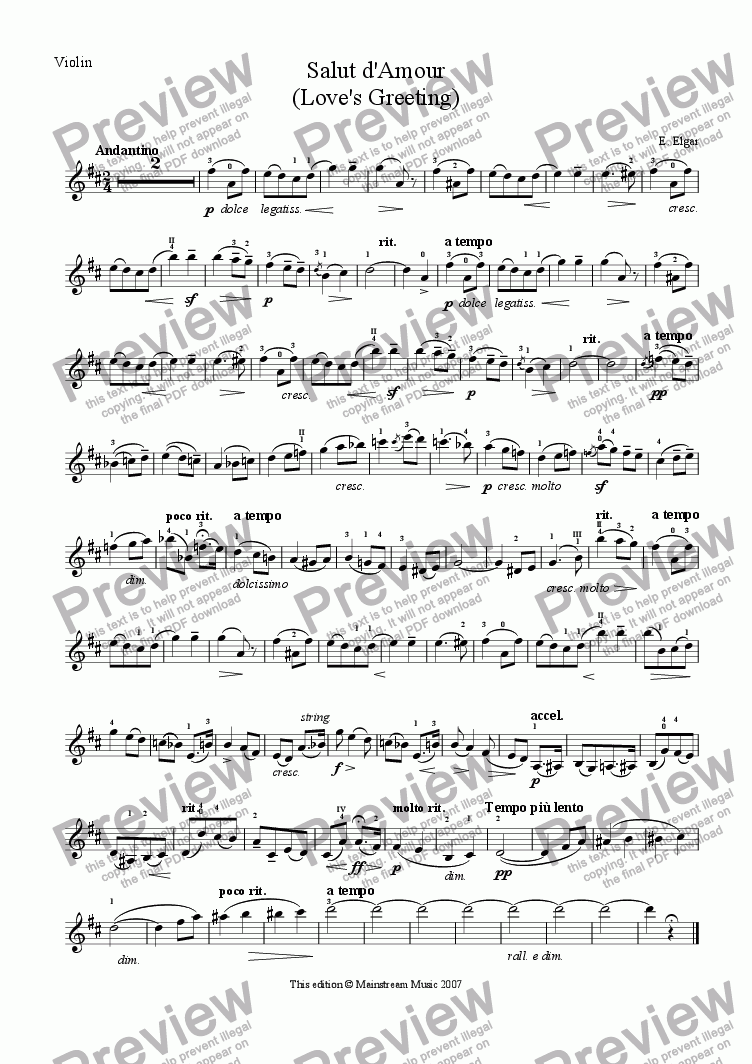 page one of the Violin part from Salut d'Amour