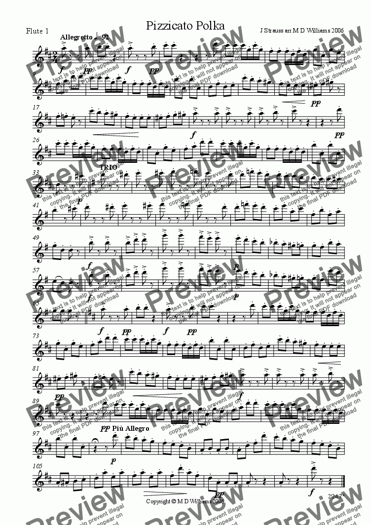 page one of the Flute 1 part from Flute Quartet: Strauss Pizzicato Polka