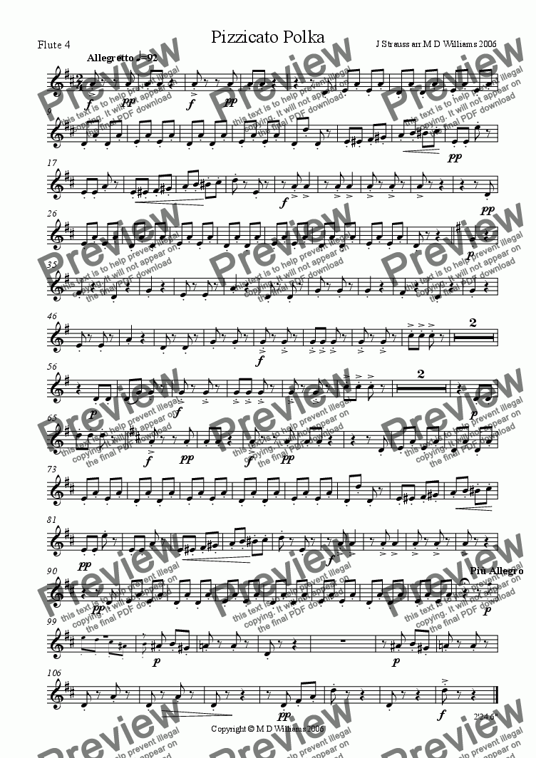 page one of the Flute 4 part from Flute Quartet: Strauss Pizzicato Polka