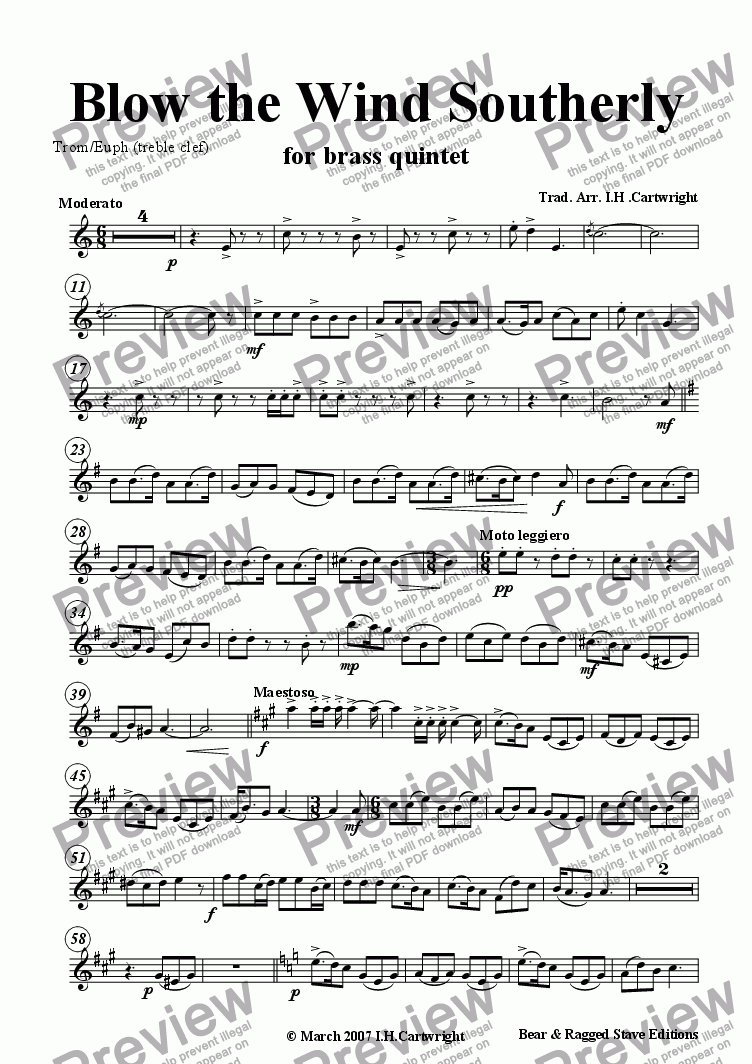 page one of the Trom/Euph (treble clef) part from Blow the wind Southerly for brass quintet