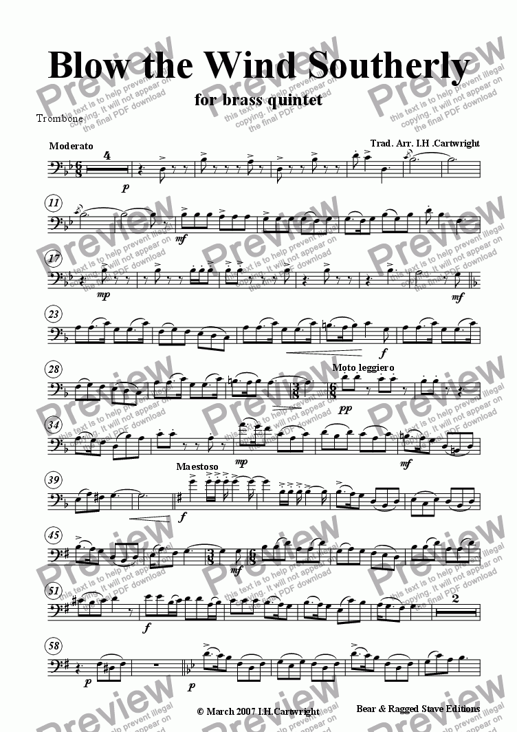 page one of the Trombone part from Blow the wind Southerly for brass quintet