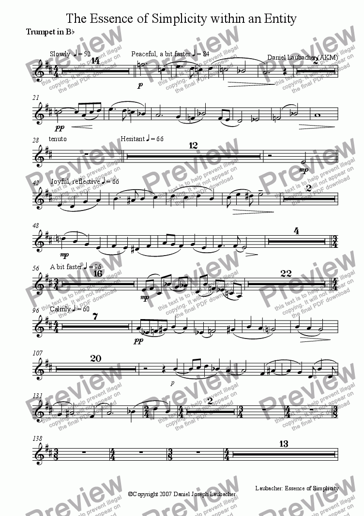 page one of the Trumpet in Bb part from The Essence of Simplicity within an Entity (Orchestra)