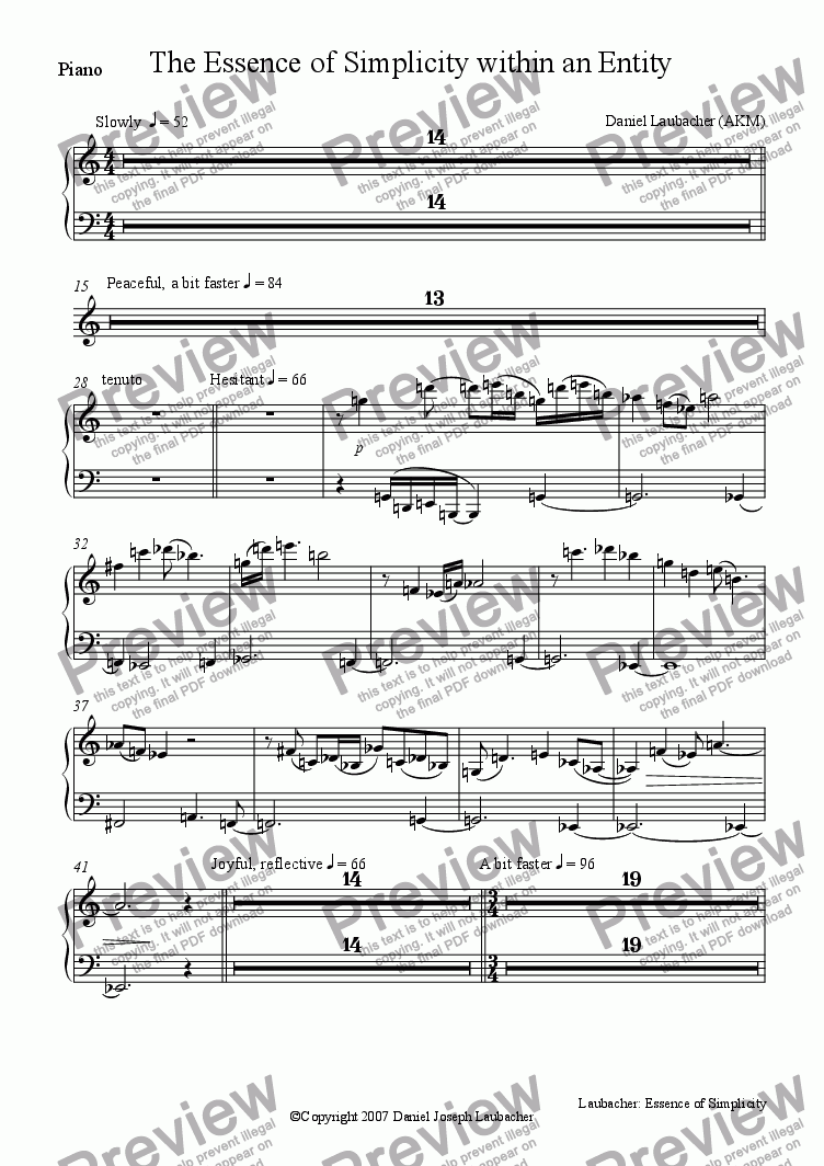 page one of the Piano part from The Essence of Simplicity within an Entity (Orchestra)
