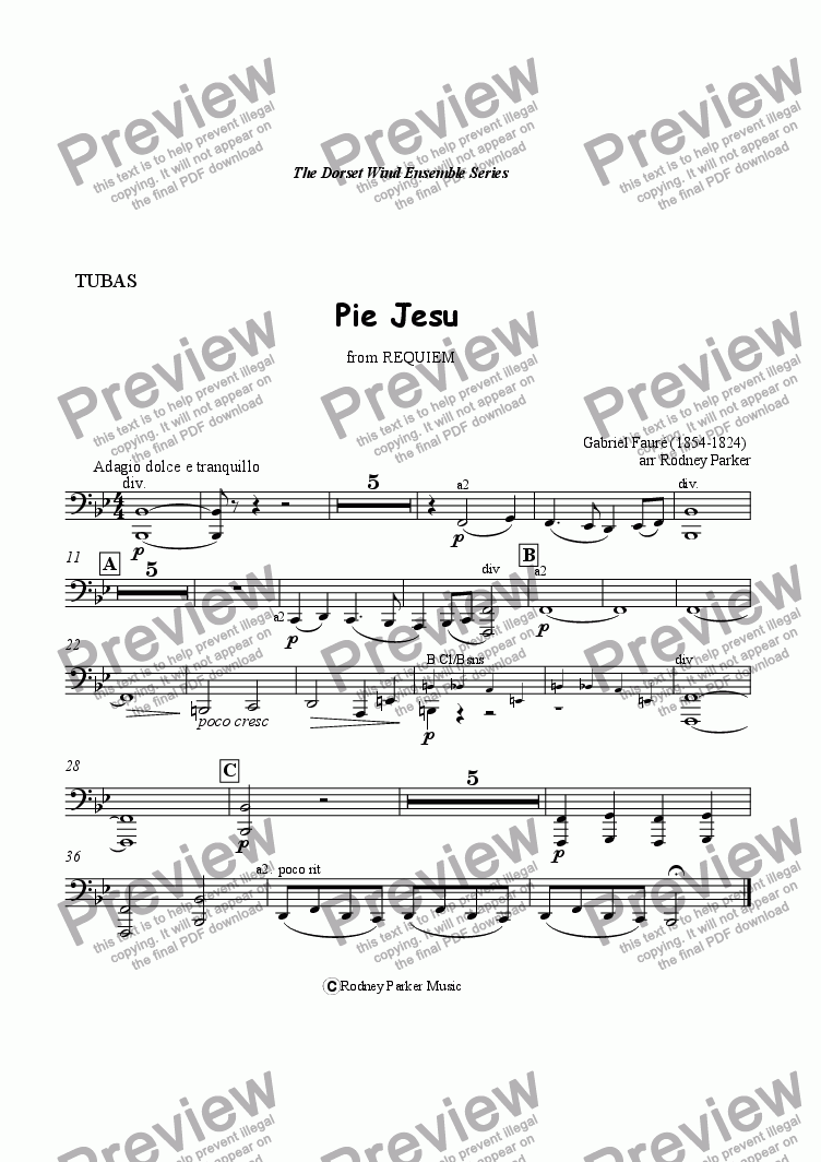 page one of the Tubas part from Pie Jesu from Requiem