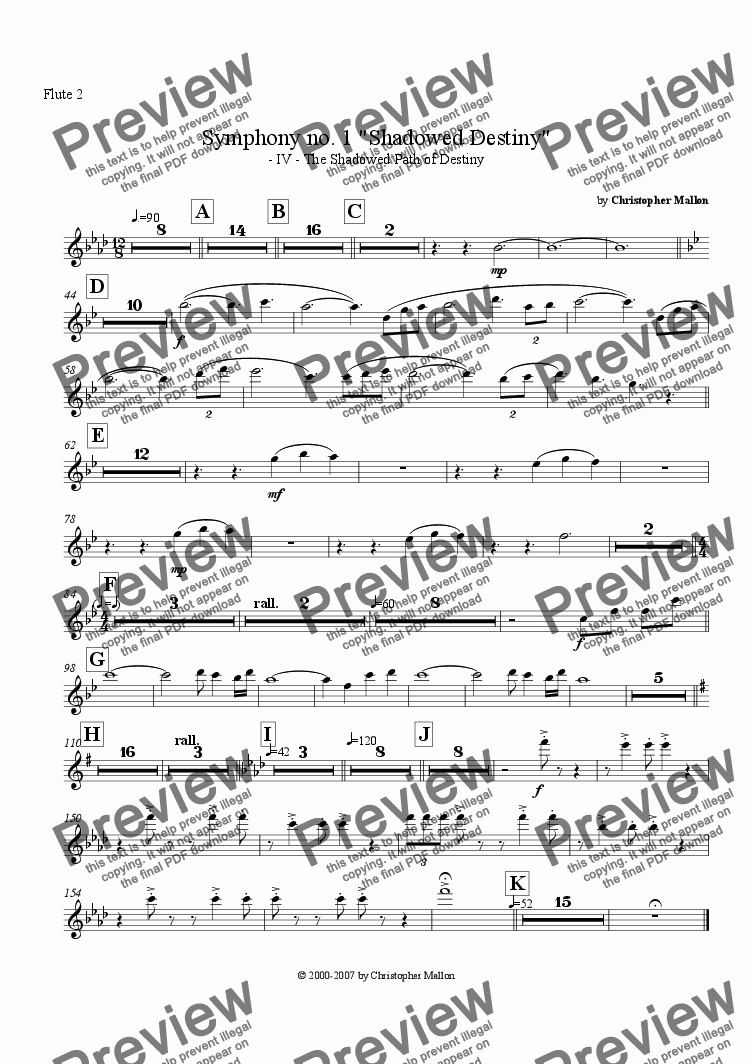 "page one of the Flute 2 part from ""Shadowed Destiny"" - Symphony no. 1 - IV"