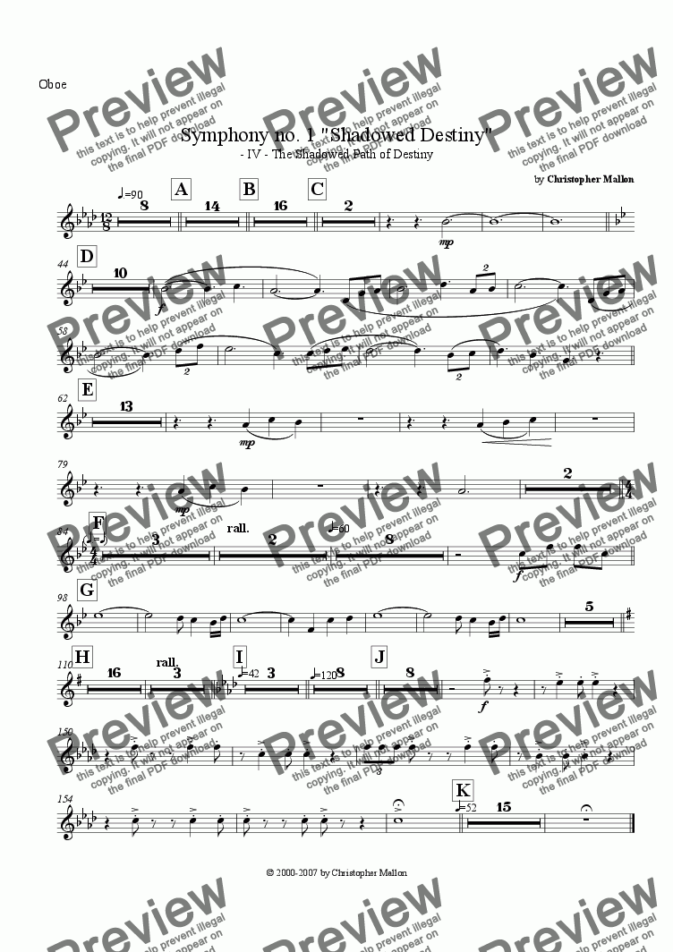 "page one of the Oboe part from ""Shadowed Destiny"" - Symphony no. 1 - IV"