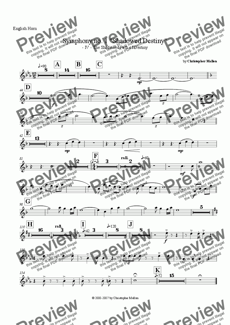 "page one of the English Horn part from ""Shadowed Destiny"" - Symphony no. 1 - IV"