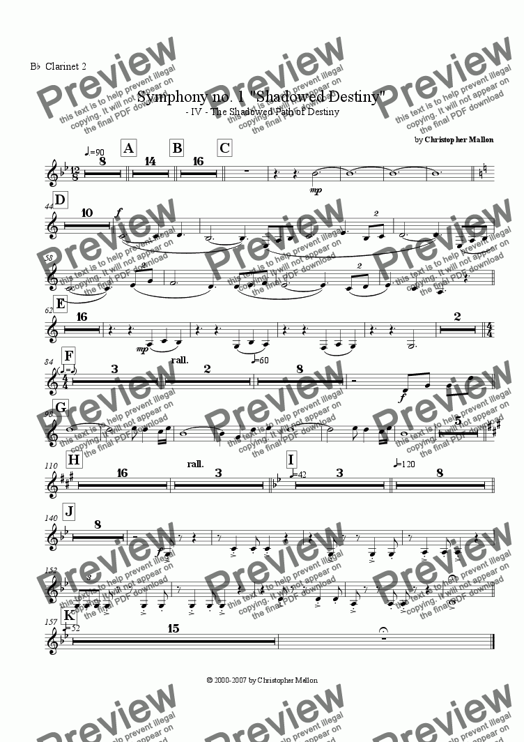 "page one of the Clarinet 2 part from ""Shadowed Destiny"" - Symphony no. 1 - IV"