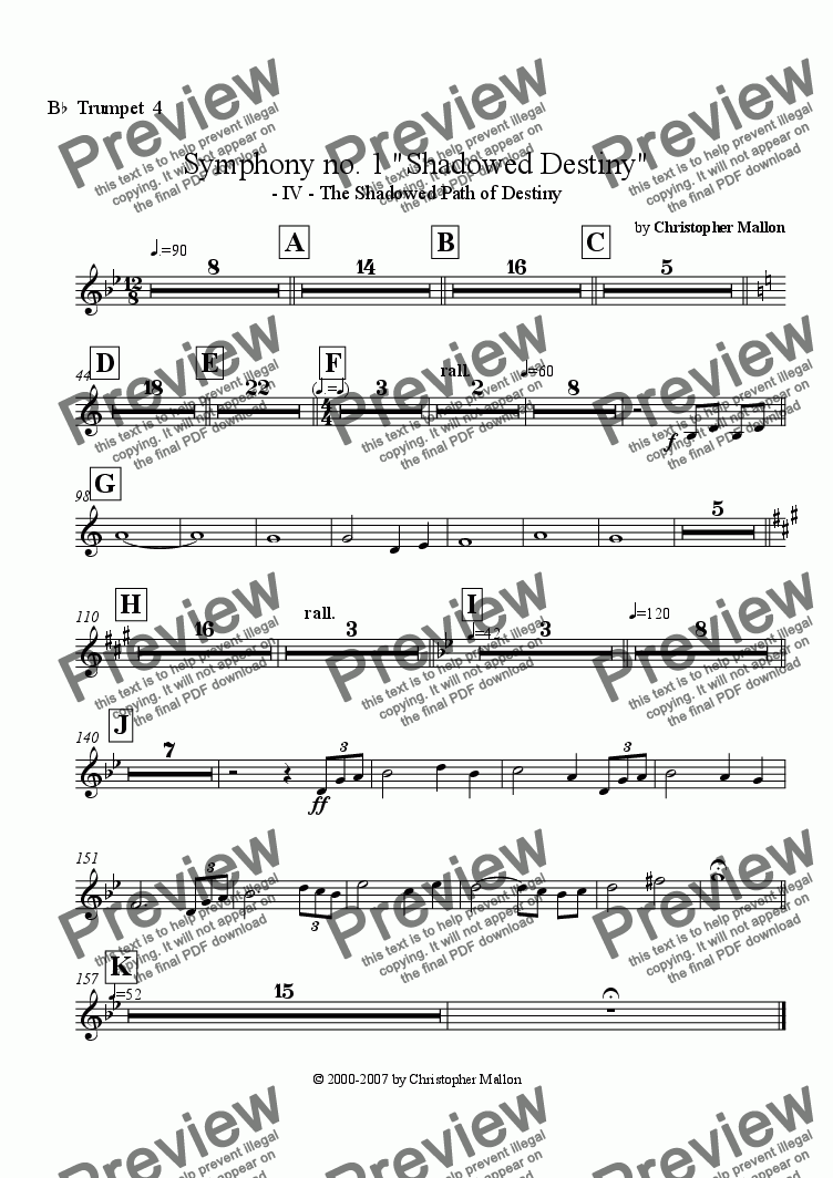 "page one of the Trumpet 4 part from ""Shadowed Destiny"" - Symphony no. 1 - IV"