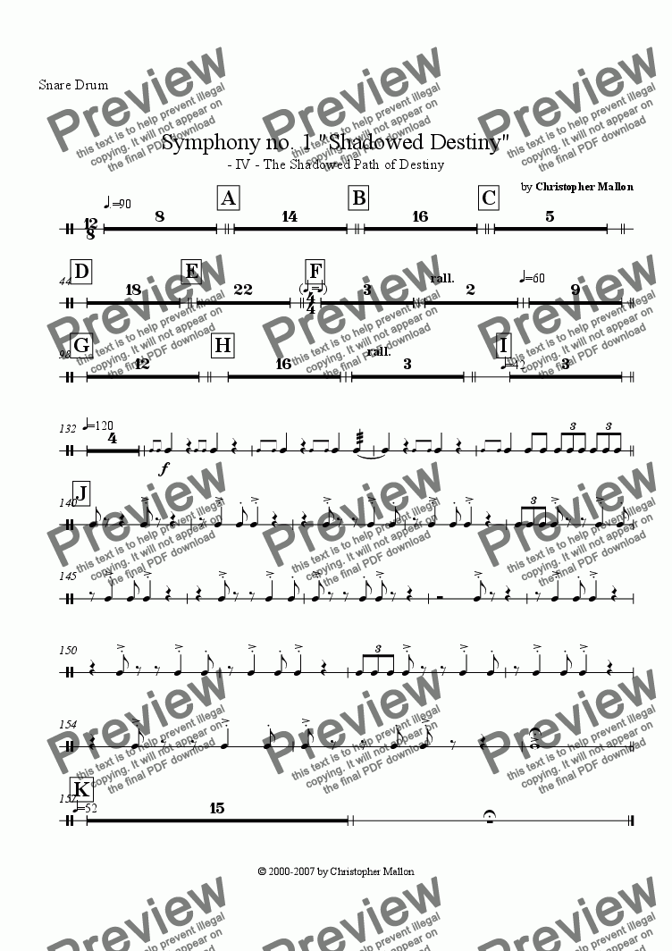 "page one of the Snare Drum part from ""Shadowed Destiny"" - Symphony no. 1 - IV"