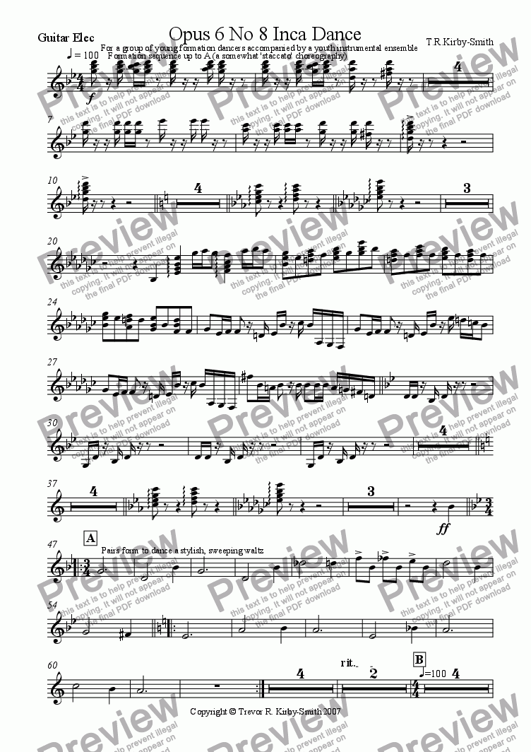 page one of the Electric Guitar part from Opus 6 No 8 Inca Dance