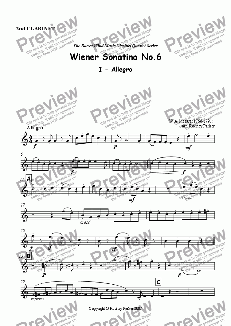 page one of the 2nd Clarinet part from Wiener Sonatina No.6 arr for Clarinet Quartet