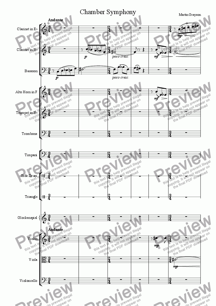 page one of the Clarinet in Bb part from Chamber Symphony for 9 Sustained Instruments and Percussion