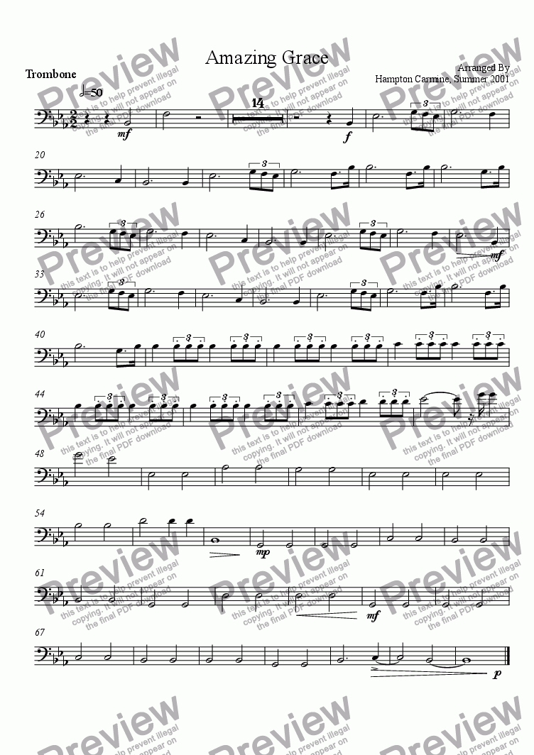 page one of the Trombone part from Amazing Grace