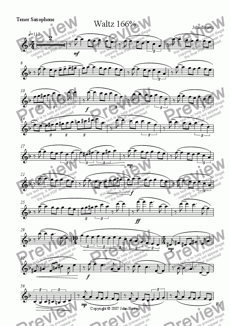 page one of the Tenor Saxophone part from Waltz 166%