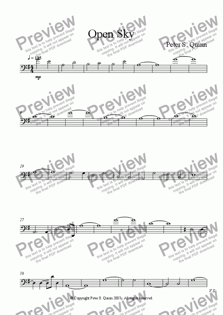page one of the Contrabass part from Open Sky