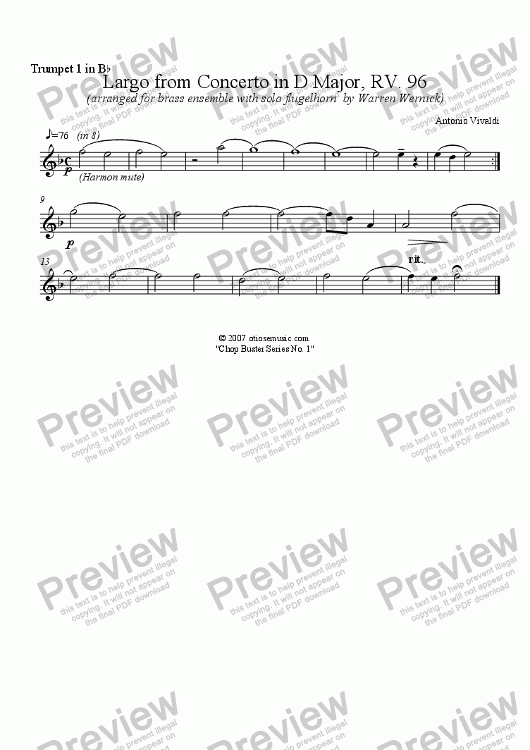 page one of the 1. Trumpet 1 in B-flat (Largo from Guitar Cto) part from Largo from Guitar Concerto in D Major, RV. 93 for Brass Ensemble with Flugelhorn Soloist