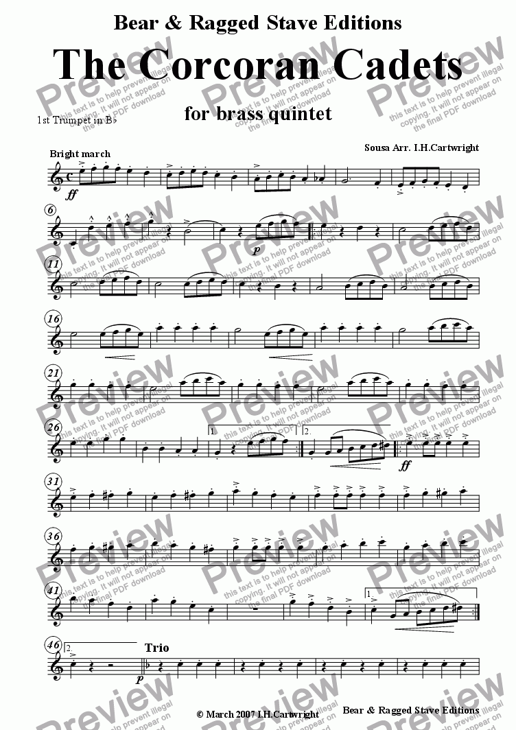 page one of the 1st trumpet Bb part from The Corcoran Cadets for brass quintet