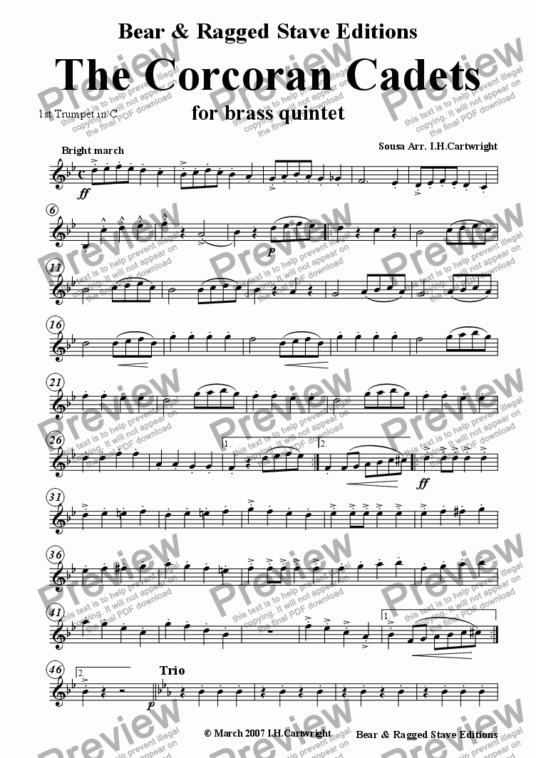 page one of the 1st trumpet in C part from The Corcoran Cadets for brass quintet