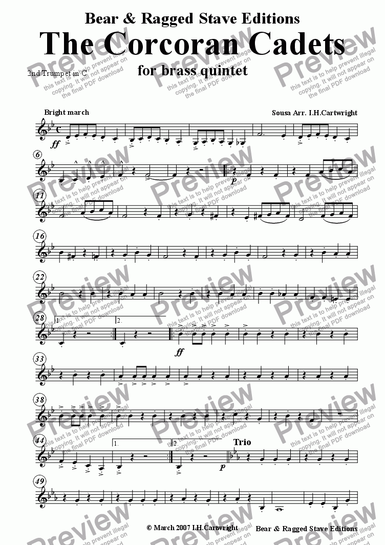 page one of the 2nd trumpet in C part from The Corcoran Cadets for brass quintet