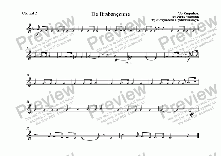 page one of the clarinet 2 part from Braban�onne (for wind band)