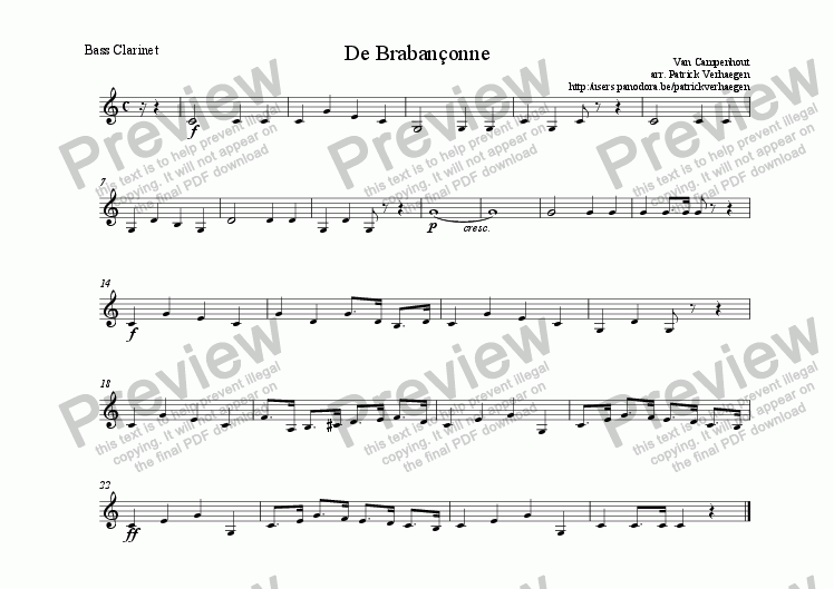 page one of the bass clarinet part from Braban�onne (for wind band)