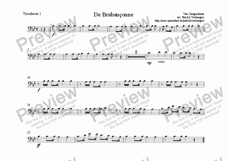 page one of the trombone 1 part from Braban�onne (for wind band)
