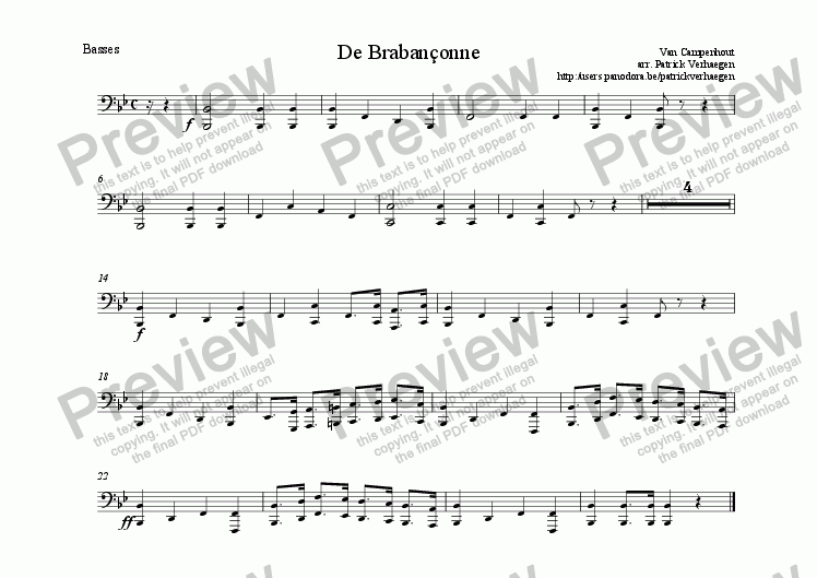 page one of the basses part from Braban�onne (for wind band)